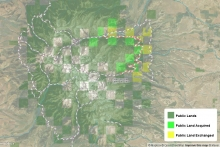 East Crazy Mountains and Inspiration Divide Public Access Improvement Land Exchange map image
