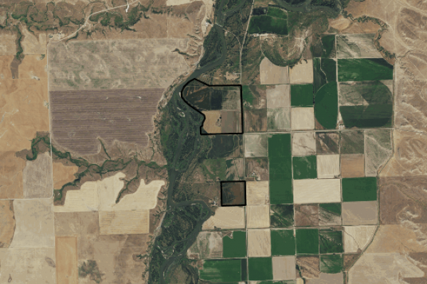 Map of Big Horn River Farm: 206 acres SW of Hardin