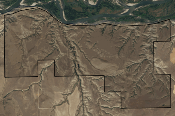 Map of Black Bluffs on the Yellowstone River: 1366 acres South of Park City