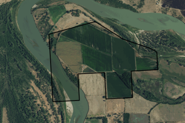 Map of Missouri River Property: 455 acres East of Poplar