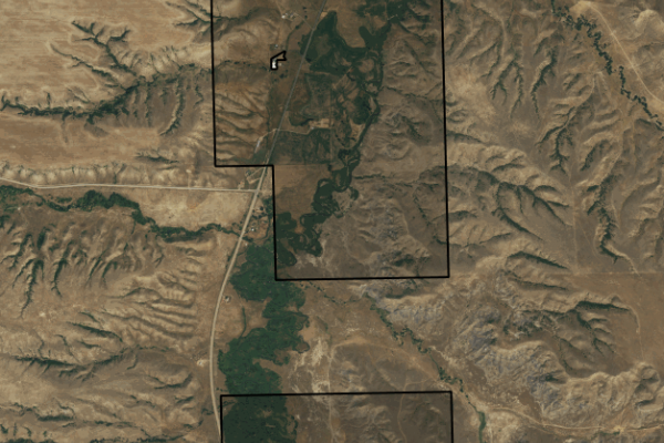 Map of Pryor Creek Property: 877 acres SE of Billings