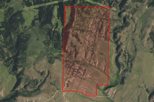 Map of Spring Creek Elk Camp: 1208.5 acres Eats of Townsend
